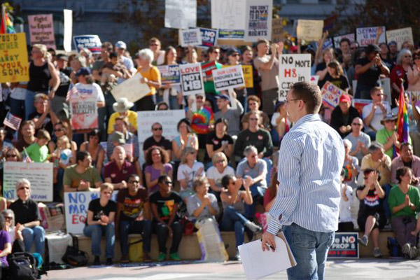 Eric speaking at a Prop 8 rally.